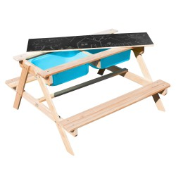 Dual Top 2.0 Sand & Water Picnic Table with Blue bins