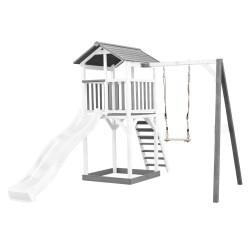 Beach Tower with Single Swing Grey/white - White Slide