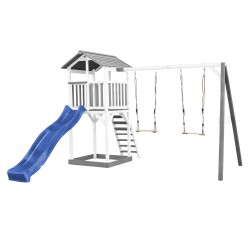 Beach Tower with Double Swing Grey/white - Blue Slide