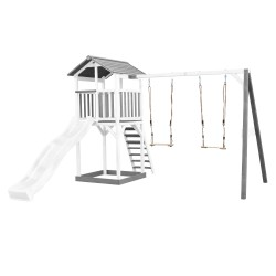 Beach Tower with Double Swing Grey/white - White Slide