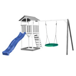 Beach Tower with Summer Nest Swing Grey/white - Blue Slide