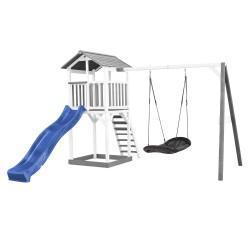 Beach Tower with Roxy Nest Swing Grey/white - Blue Slide