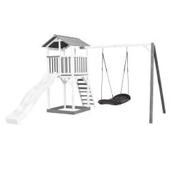 Beach Tower with Roxy Nest Swing Grey/white - White Slide