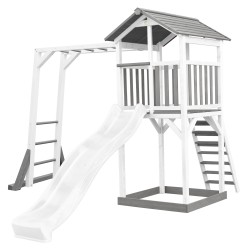 Beach Tower with Climbing Frame Grey/white - White Slide