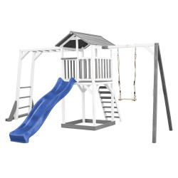 Beach Tower with Climbing Frame and Single Swing Grey/white - Blue Slide