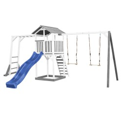 Beach Tower with Climbing Frame and Double Swing Grey/white - Blue Slide