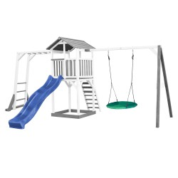 Beach Tower with Climbing Frame and Summer Nest Swing Grey/white - Blue Slide