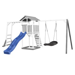 Beach Tower with Climbing Frame and Roxy Nest Swing Grey/white - Blue Slide