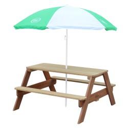 Nick Picnic Table Brown - Umbrella Green/white