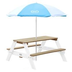 Nick Picnic Table Brown/white - Umbrella Blue/white