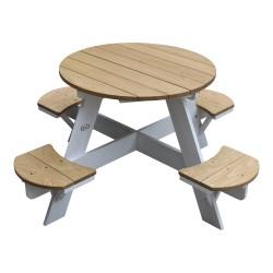 UFO Picnic Table Round Brown/white