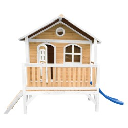 Stef Playhouse Brown/white with Blue Slide