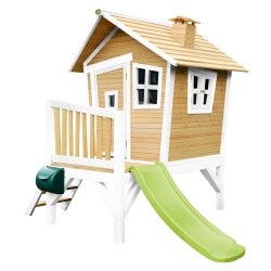 Robin Playhouse Brown/white - Lime green slide