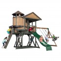 Eagles Nest Elite Play Tower with Swings, Slide and Lookout Tower