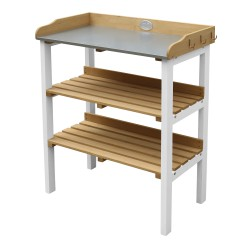 Potting Table with storage shelves Brown/white