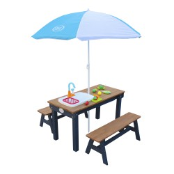 Dennis Sand & Water Picnic table with Play Kitchen sink and benches Anthracite/brown - Parasol Blue/White