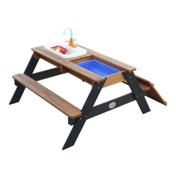 Emily Sand & Water Picnic table with Play Kitchen sink Anthracite/brown