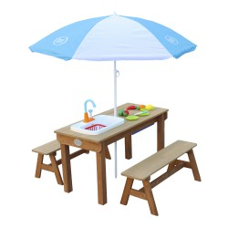Dennis Sand & Water Picnic table with Play Kitchen sink and benches Brown - Parasol Blue/White